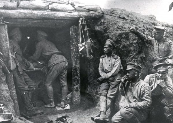 Czech soldiers outside a dugout at 'Kata' on the Russian Front during the First World War. Date: 24 June 1917