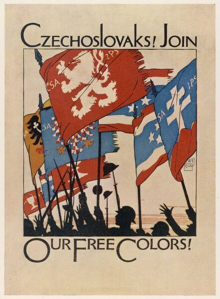 Recruiting poster for Czechs in the United States: 'Czechoslovaks! Join our Free Colors!&#39