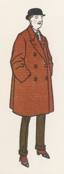 Man wears a brown double- breasted, knee-length 'sac'- like overcoat with long lapels