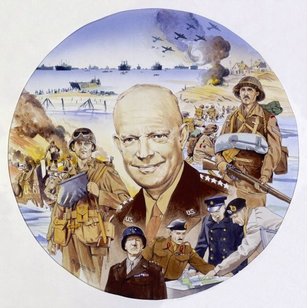 A circular montage painting depicting D Day, centred around the commander of the US forces, General Eisenhower. Painting by Malcolm Greensmith
