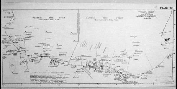 Plan 1C - Operation 'Neptune', an elaborate map detailing the proposed D-Day Normandy assault landings by Allied troops on the French beaches