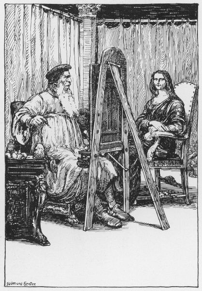 LEONARDO DA VINCI Italian artist working in his studio, with the model for his most famous painting