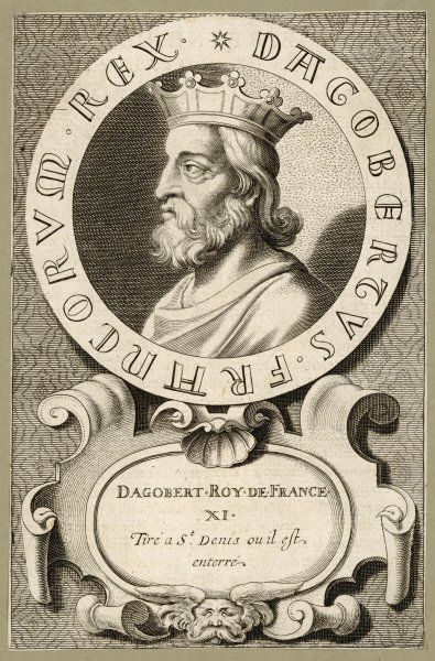 DAGOBERT I king of Neustria, ruler until 623. Son of Clotaire II, the last Merovingian king before 'les rois faineants&#39