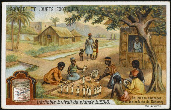 Children of Dahomey play with toy 'Amazons&#39