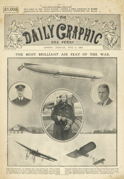 Front page of the DAILY GRAPHIC bringing readers news of 'the most brilliant air feat of the war' - the downing of a dreaded Zeppelin