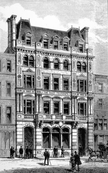 Engraving showing the Fleet Street exterior of the 'Daily Telegraph' newspaper offices, London, 1882