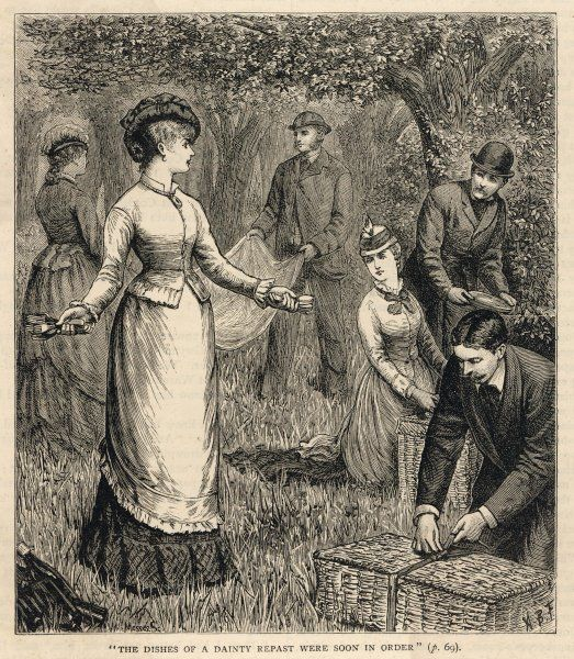 The dishes of dainty repast were soon in order A group of men and women set about the task of laying out a picnic