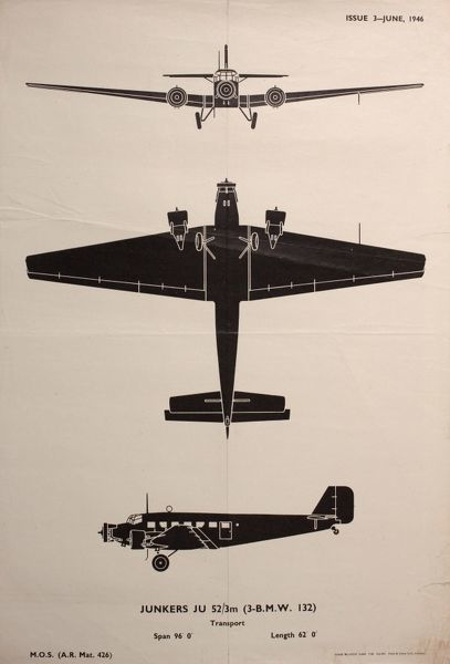 Junkers JU 52/3m Transport Plane, seen from three different angles. 1946