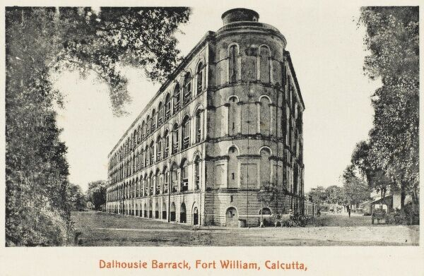 An elegant building at the Dalhousie Barracks, Fort William, Calcutta, showing British Architectural styles transplanted to India