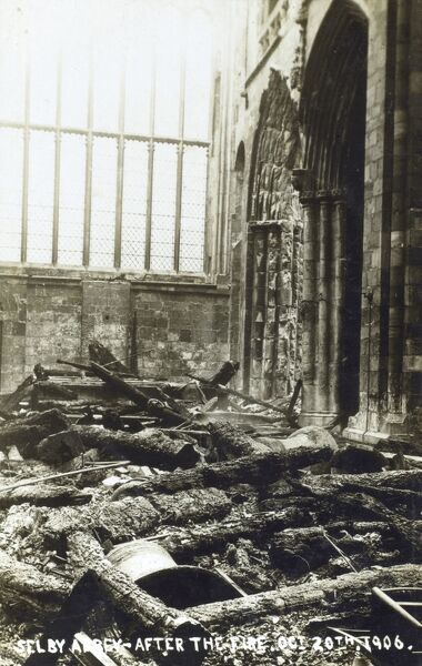 The damage caused by a fire at Selby Abbey, North Yorkshire on October 20th, 1906. The conflagration was of such intensity that it melted the bells in the central tower. Date: 1906