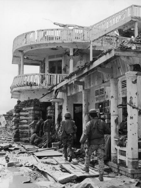 South Vietnam, Quang Tri: one of the few houses which was not completely destroyed by the Viet Cong and in which the local command post was located