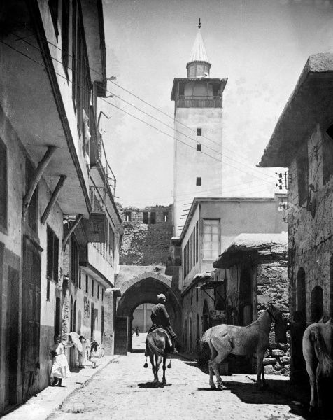 Straight Street, Damascus, Syria, where, in the New Testament of the Bible (Acts 9;11), the blinded St. Paul was cared for by Judas. Date: 1933