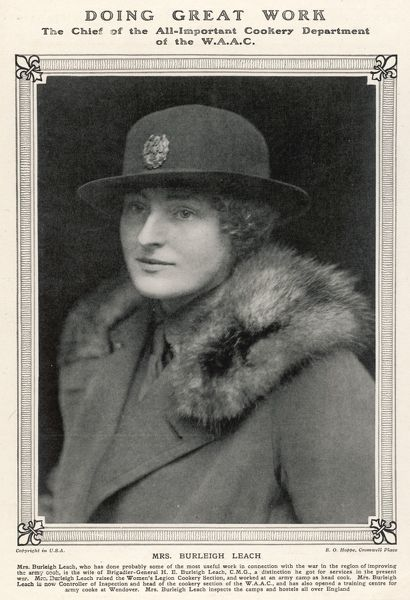 Dame Florence Edith Victoria Simpson, nee Way, other married name Burleigh Leach, controller of Queen Mary's Women's Army Auxiliary Corps during World War One & beyond