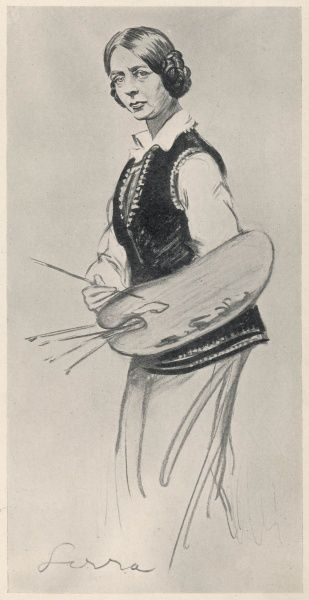 Dame Laura Knight (1877-1970), British artist caricatured by Sirra