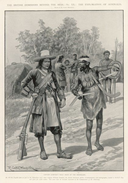 William Dampier is shown a boomerang by an aborigine
