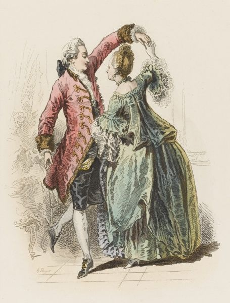 A fashionable pair cavorting at the court of Louis XV. (from a picture by St Aubin)