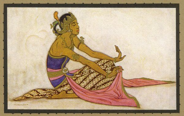 A Javanese dancer in a seated pose. These dancers perform in the royal courts