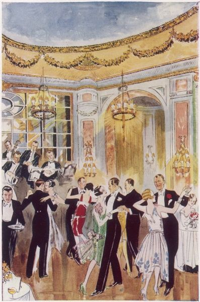 This illustration shows an evening dance in 1928