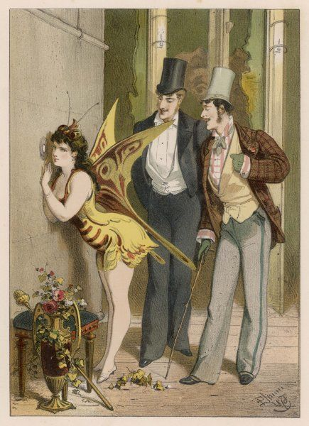 A dancer looks at the audience, while two men have eyes only for her
