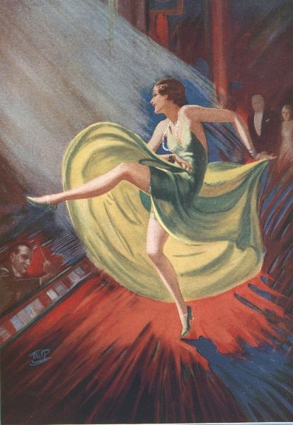 Colour illustration by Fred W. Purvis of a dancer in the limelight on a theatre stage