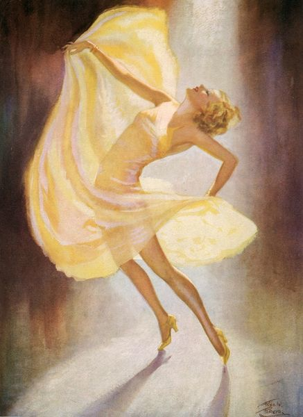 Colour illustraton by Fred Purvis showing an elegant solitary dancer in a diaphonous yellow dress