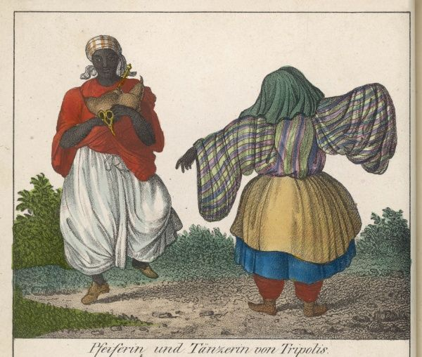 A dancer of Tripoli, accompanied by a piper