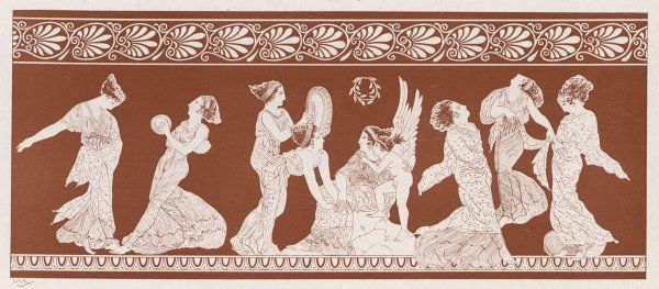 Nymphs of the cortege of Aphrodite (Venus) dance in her honour : she watches, together with her son Eros