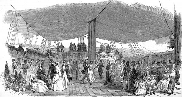 Engraving showing British emigrants dancing on the main deck of the ship 'Randolph' during a banquet held prior to its departure for New Zealand, 1850. In September of that year, 250 middle-class emigrants set sail for Canterbury, New Zealand