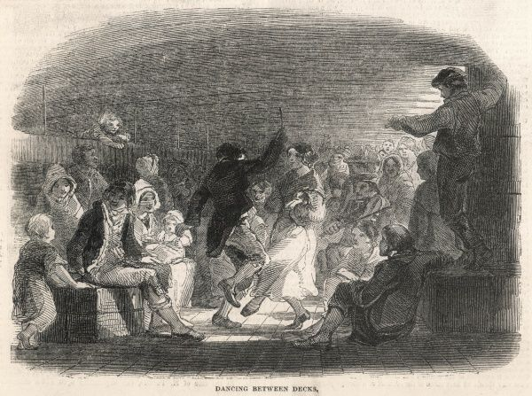 A light-hearted scene during a crossing of emigrants from Britain to New Zealand in 1860, showing passengers dancing to the sound of a fiddle between decks