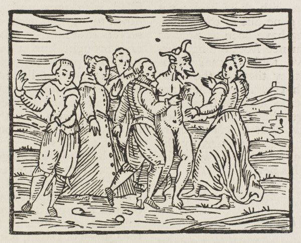 The Devil dances with his disciples at the Sabbat