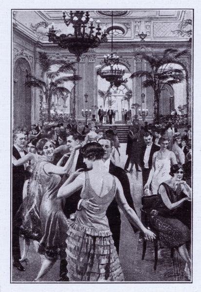 Detail of the dancing in Palm Court at the Hotel Cecil, London 1926
