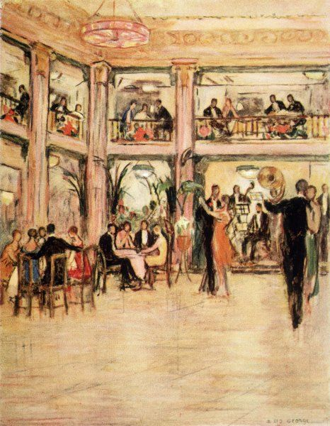 Dancers and diners at the Kit- Kat Club in the Haymarket, London : membership costs you seven guineas - equivalent to several hundred pounds today