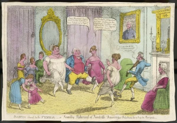 A well-to-do family employ a dancing-master to teach them the quadrille - proficiency in dancing was a necessary accomplishment for anyone with social pretensions