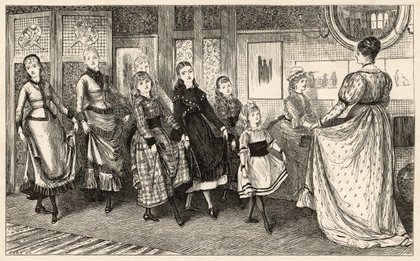 A Victorian teacher instructs seven girls in the art of the dance