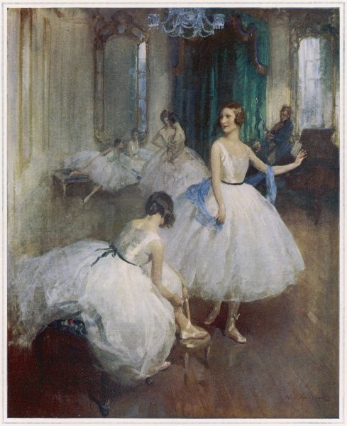 A scene in an elegant ballet studio with dancers tying their shoes and musicians warming up ready to play in the background