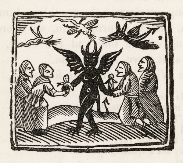 The Devil dances with four of his worshippers, while demons cavort over their heads
