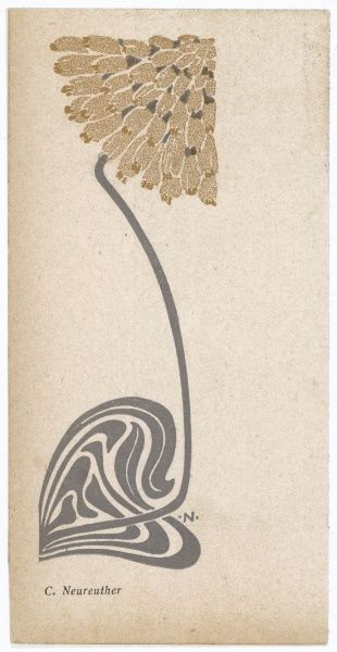 A stylized, Art Nouveau depiction of a flower - possibly a dandelion. Date: 1904