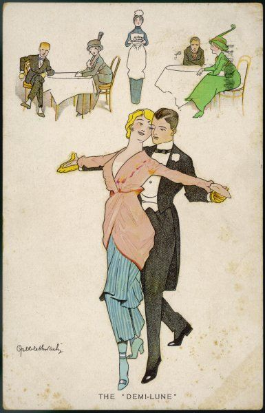 Two dancers - she wearing the attractive fashion of the day - perform the demi-lune in a dance hall on the eve of World War One, which seems to have eclipsed the half-moon dance