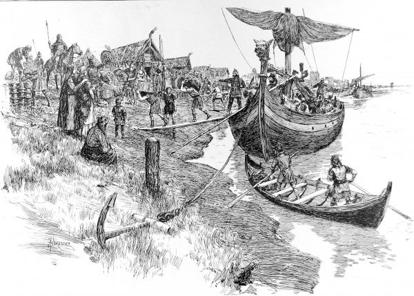 Illustration showing the 'Aldwych' Danish settlement, near London in the time of Canute, 11th century. This image shows a trading boat being unloaded onto the foreshore