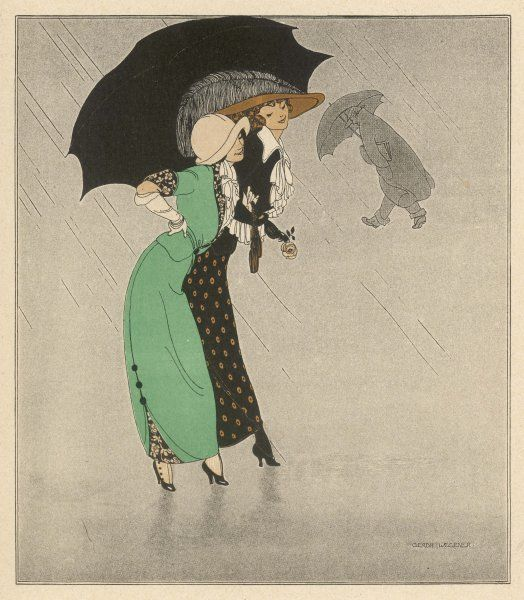 Two elegantly dressed Danish ladies share an umbrella as they walk along a rain-swept street, comparing husbands
