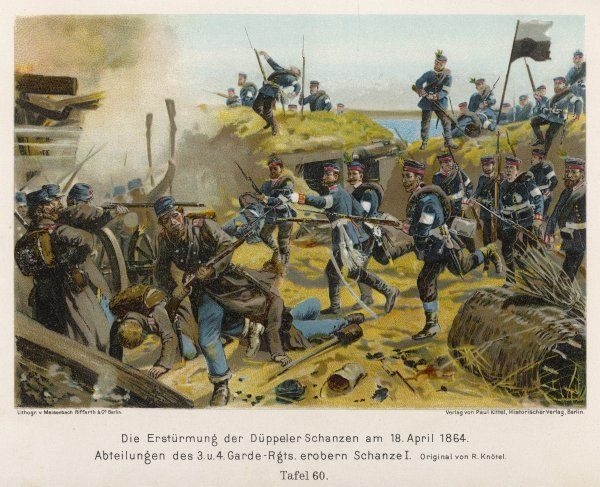 Storming of DER DUPPELER SCHANZEN by the Prussians : depicted is the entry of the 3rd and 4th Garde-Regiments into the Danish fortifications