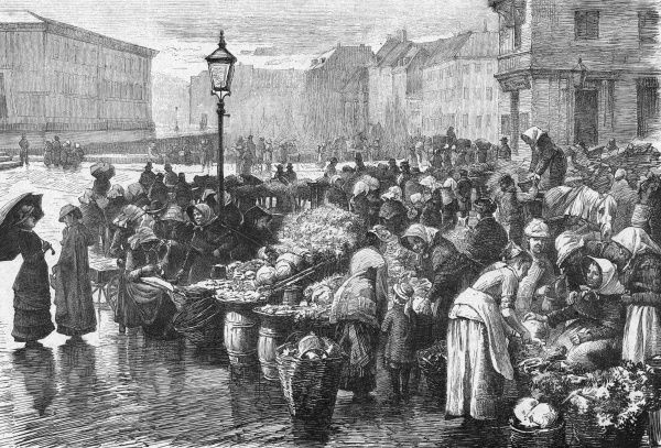 Housewives and servants at the fruit and vegetable market on a rainy day in Copenhagen. Date: 1888