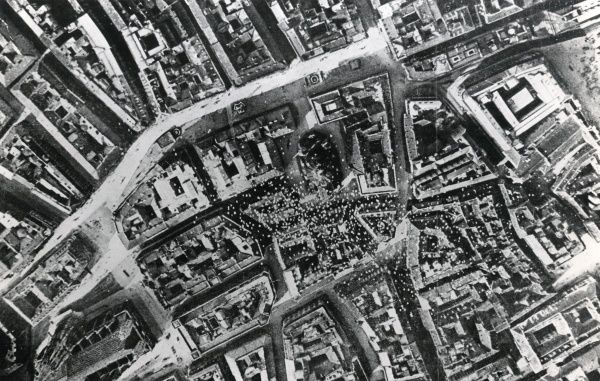 Aerial view of the centre of Vienna, Austria, with thousands of propaganda leaflets dropped by the Italian poet and nationalist Gabriele d'Annunzio from his Ansaldo SVA biplane (accompanied by ten other planes of the 87th Squadron) during
