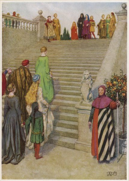 DANTE ALIGHIERI His first encounter with Beatrice (he is the small boy in the foreground, she the little girl at the top of the steps)