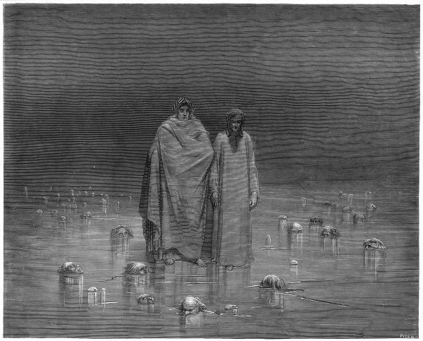 Virgil and Dante, well wrapped up against the cold, contemplate the unfortunate damned up to their necks in the ice
