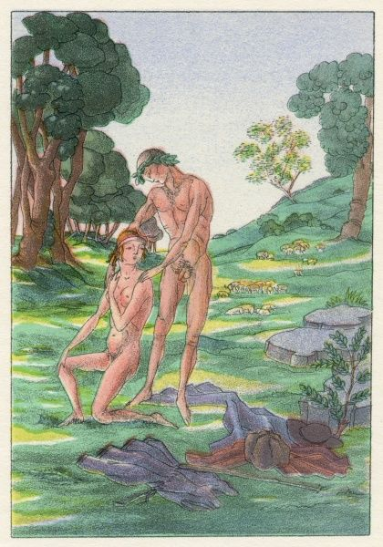 Daphnis and Chloe. The naive, young naked lovers begin to feel an uncomprehending love for each other