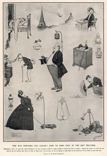 A variety of ingenious inventions and machines designed to help people cope and keep cool during an August heatwave. Please note: Credit must appear as Courtesy of the Estate of Mrs J.C.Robinson/Pollinger Ltd/ILN/Mary Evans