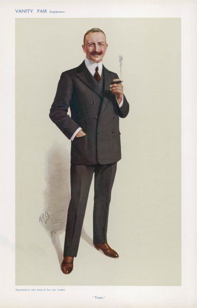 Sir Charles Friswell 'Frizzy' wears a dark brown double- breasted three-piece suit, brown lace-up boots, shirt with a high all-round collar & a brown tie