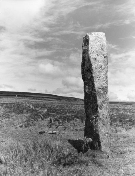 A granite Standing Stone and ancient stone row, near Nattor, on Dartmoor, Devon, England, one of many similar stones situated on all parts of the moor. Date: BC