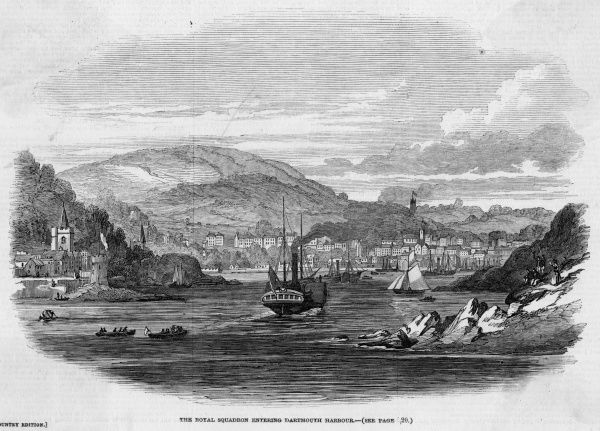 Victoria and Albert pay a visit to Dartmouth, Devon : the royal squadron enters the harbour